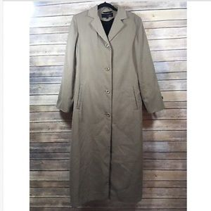 Utex Lined Tan Trench Coat Size 12 Button Front